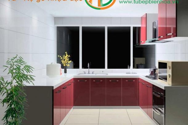 Thiết kế tủ bếp nhựa Acrylic cho không gian hiện đại
