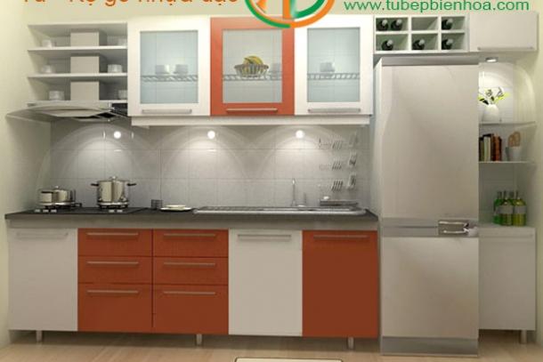 Sản xuất và lắp đặt tủ bếp nhựa hình chữ I đơn giản-đẹp