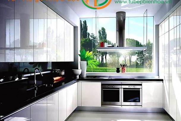 Tủ bếp nhựa cao cấp hình chữ L không gian đô thị mới