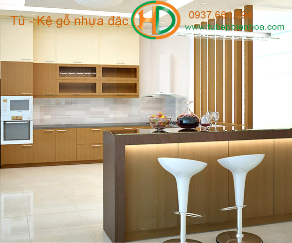 tủ bếp nhựa quầy bar hd7