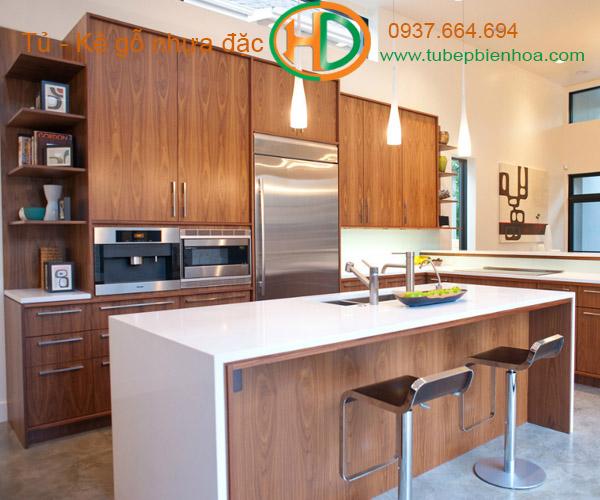 tủ bếp nhựa vân gỗ 2019 hd1