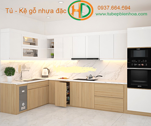 tủ bếp nhựa vân gỗ hd1