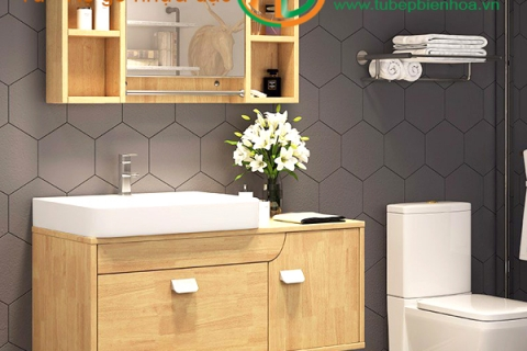Tủ phòng tắm nhựa cao cấp vân gỗ truyền thống