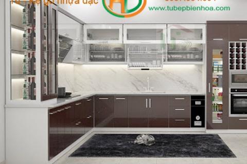 Tủ bếp nhựa cánh nhôm kính Biên Hòa
