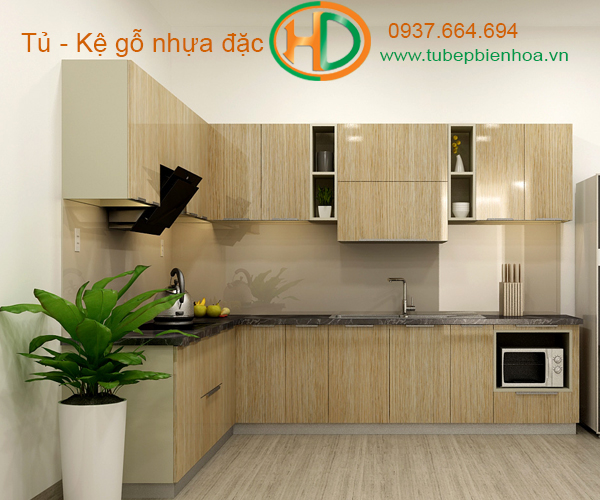 tủ bếp nhựa picomat màu vân gỗ 1