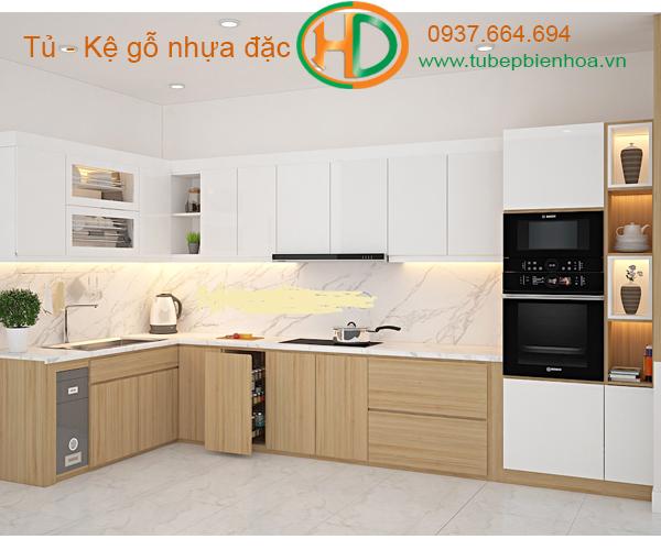 tủ bếp nhựa picomat màu vân gỗ 10