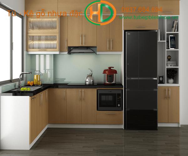 tủ bếp nhựa picomat màu vân gỗ 2