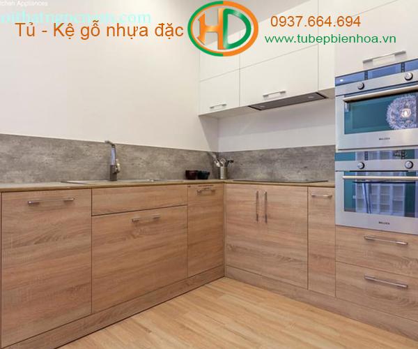 tủ bếp nhựa picomat màu vân gỗ 5