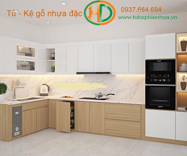 tủ bếp nhựa picomat màu vân gỗ 6