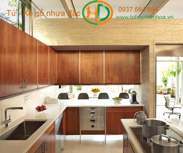 tủ bếp nhựa picomat màu vân gỗ 7