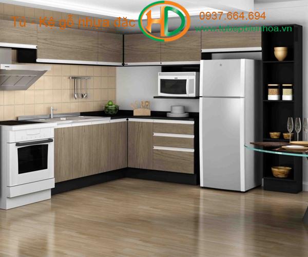 tủ bếp nhựa picomat màu vân gỗ 8